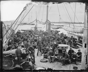civil war union sailors on ship's deck