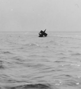USS S-5's stern floats above the water two days after the submarine sank in August 1920.