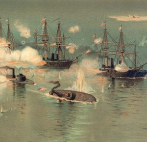 Painting showing sinking ship Tecumseh