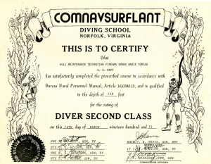 Tobias's Dive School Certificate