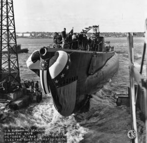 Submarine USS Sealion in water during launching ceremony