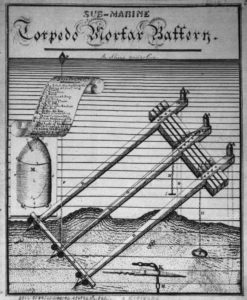 19th century drawing of frame mines on angled wooden timbers