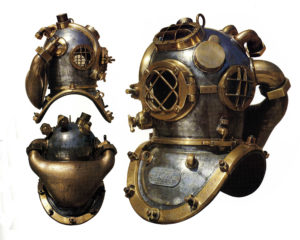 Historic diving helmet shown from three angles
