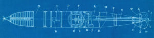 blueprint showing side view of Howell torpedo