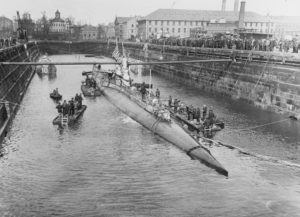 USS S-4 floats in the Boston Navy Yard dry dock in March 1928, four months after the collision that killed her crew.